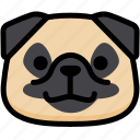emoji, emotion, expression, face, feeling, grinning, pug icon