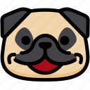emoji, emotion, expression, face, feeling, happy, pug icon