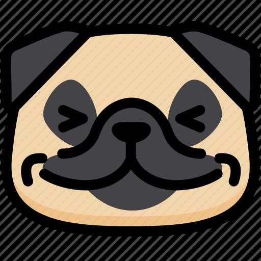 Emotion, happy, pug, face, feeling, expression, emoji icon