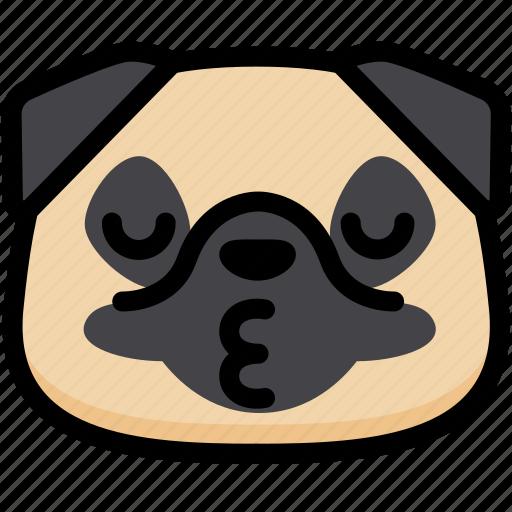 Dog, emoji, emotion, expression, face, feeling, kiss icon - Download on Iconfinder