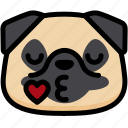 emoji, emotion, expression, face, feeling, kiss, pug icon