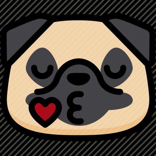 emoji, emotion, expression, face, feeling, kiss, pug icon