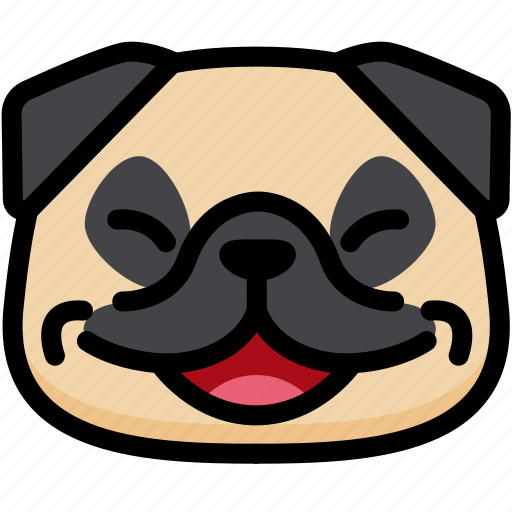 emoji, emotion, expression, face, feeling, laughing, pug icon