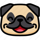 emoji, emotion, expression, face, feeling, laughing, pug icon