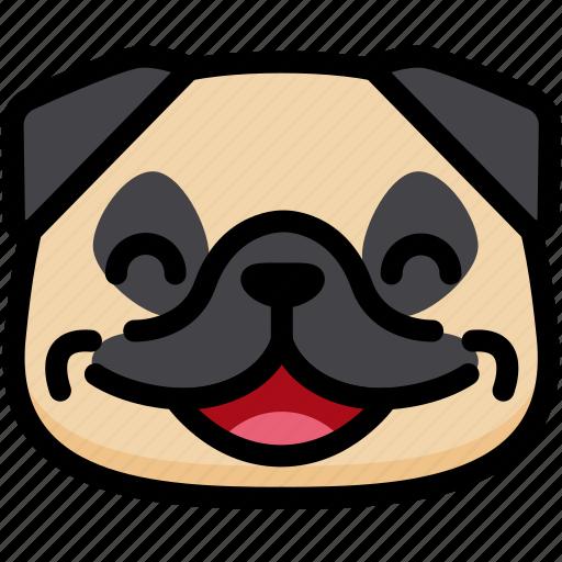 Emotion, pug, face, laughing, feeling, expression, emoji icon
