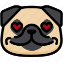 dog, emoji, emotion, expression, face, feeling, love icon