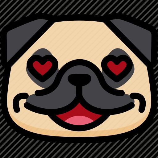 dog, emoji, emotion, expression, face, feeling, love icon