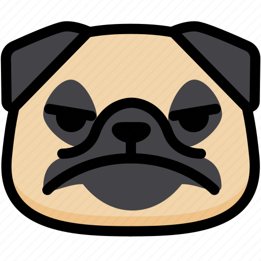 emoji, emotion, expression, face, feeling, mad, pug icon
