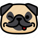 emoji, emotion, expression, face, feeling, naughty, pug icon