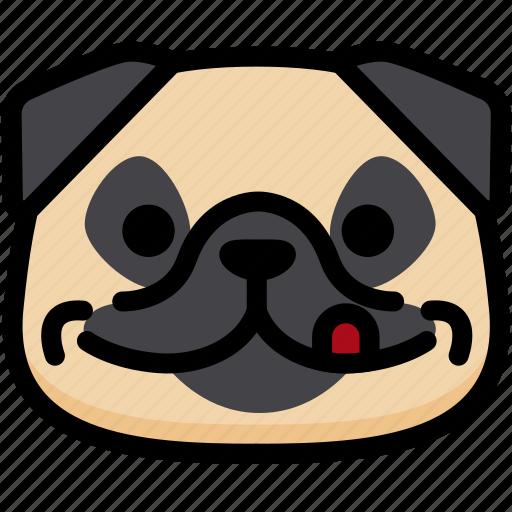 emoji, emotion, expression, face, feeling, naughty, pug icon