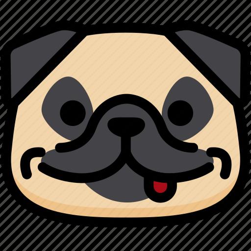 dog, emoji, emotion, expression, face, feeling, naughty icon
