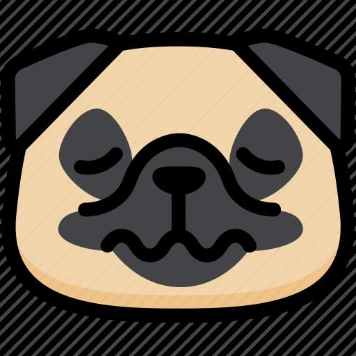 emoji, emotion, expression, face, feeling, nervous, pug icon