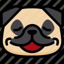 emotion, relax, pug, face, feeling, expression, emoji