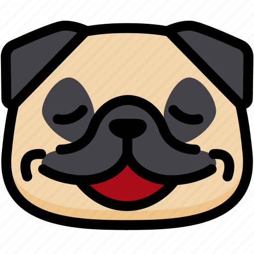 emoji, emotion, expression, face, feeling, pug, relax icon