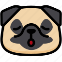 dog, emoji, emotion, expression, face, feeling, relax icon