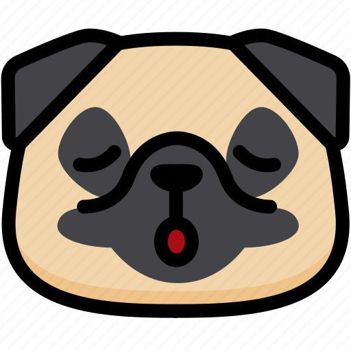 dog, emoji, emotion, expression, face, feeling, relax icon