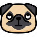 emoji, emotion, expression, eyes, face, pug, rolling