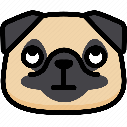 emoji, emotion, expression, eyes, face, pug, rolling icon