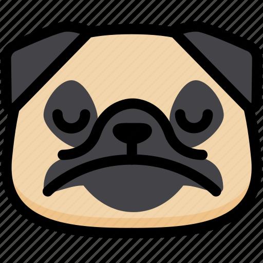 dog, emoji, emotion, expression, face, feeling, sad icon