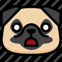emoji, emotion, expression, face, feeling, pug, shocked icon