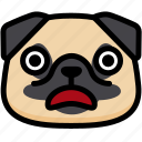 dog, emoji, emotion, expression, face, feeling, shocked icon