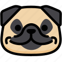 emoji, emotion, expression, face, feeling, pug, smile icon