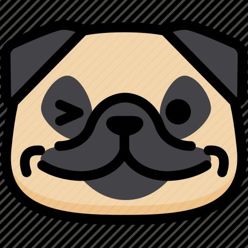 emoji, emotion, expression, face, feeling, pug, smile icon