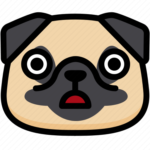 emoji, emotion, expression, face, feeling, pug, stunning icon