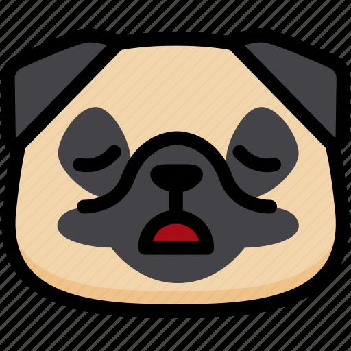 emoji, emotion, expression, face, feeling, pug, tried icon