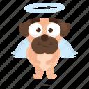 sticker, dog, emoji, angel, pug, emoticon icon
