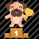 award, dog, emoji, emoticon, pug, sticker, winner icon