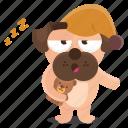 bedtime, dog, emoji, emoticon, pug, pyjama, sticker