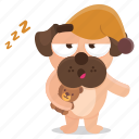 bedtime, dog, emoji, emoticon, pug, pyjama, sticker icon
