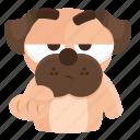 beg, dog, emoji, emoticon, pug, sticker