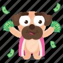 cash, dog, emoji, emoticon, money, pug, sticker icon