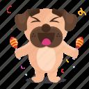 sticker, dog, celebrate, emoji, pug, music, emoticon