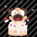 sticker, dog, celebration, pug, emoji, emoticon, birthday