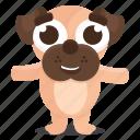 dog, emoji, emoticon, happy, pug, sticker icon