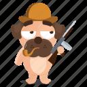 dog, emoji, emoticon, hunter, pug, sticker