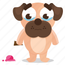 cream, dog, emoji, emoticon, ice, pug, sticker