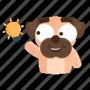 sticker, dog, idea, thought, pug, emoji, emoticon