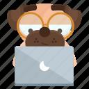 dog, emoji, emoticon, laptop, pug, reading, sticker