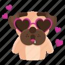 sticker, dog, love, emoji, pug, emoticon