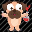 sticker, dog, love, emoji, pug, emoticon, chemistry