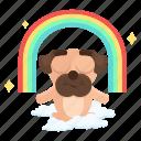 dog, emoji, emoticon, meditation, pug, rainbow, sticker