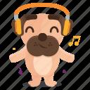 dog, emoji, emoticon, music, pug, sticker