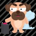 sticker, dog, emoji, pug, explosion, emoticon, nuclear