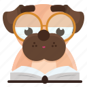 dog, emoji, emoticon, pug, reading, sticker