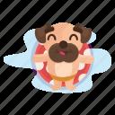 dog, emoji, emoticon, pool, pug, relaxation, sticker