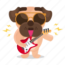sticker, dog, emoji, pug, music, emoticon, rockstar